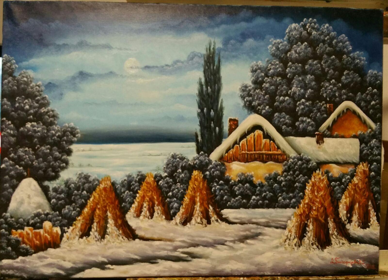 Zimska noć - ulje na platnu