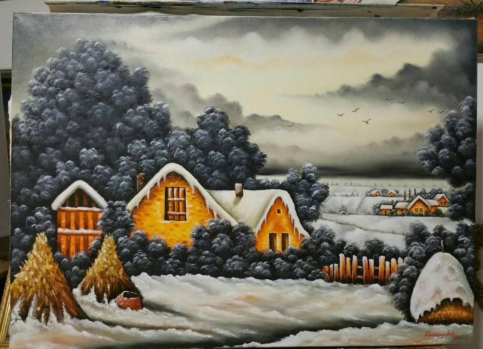 Zimsko sivilo - ulje na platnu