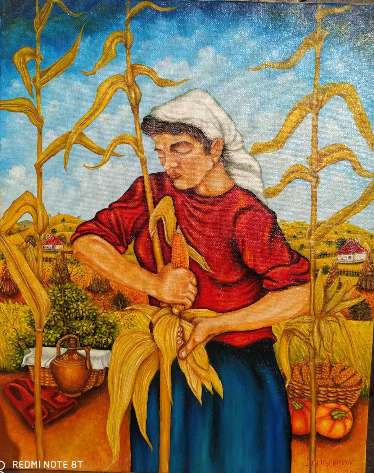 Branje kukuruza, 50x40, 150 evra